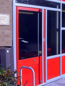 School Pivot Door Red